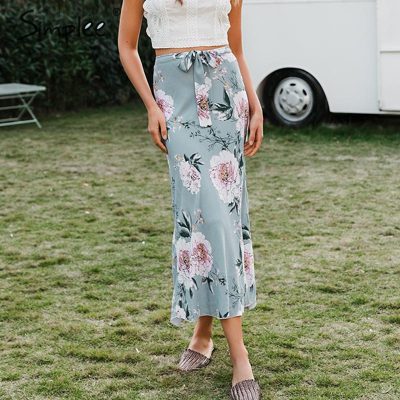Simplee Bohemian Flower Print Long Skirt Women Elegant Bow Tie Cotton Female Skirt Casual Streetwear Soft Ladies Summer Skirts