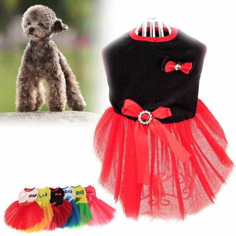 ملابس للحيوانات الأليفة للكلب فساتين أنيقة Knotbow سترة قمصان فستان الشمس الصيف ازياء FP8