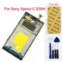 For Sony For Xperia C S39H S39 C2304 C2305 LCD Display Panel Monitor + Touch Screen Digitizer Sensor Glass Assembly With Frame