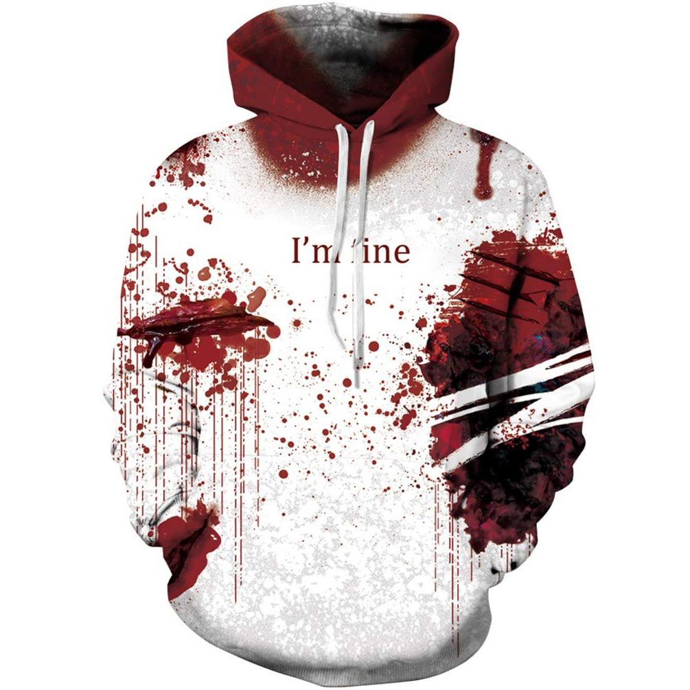 I'm fine3d blood drop printed sweatshirt for men and women Street Style Men's long sleeve Hoodie for men's sportswear