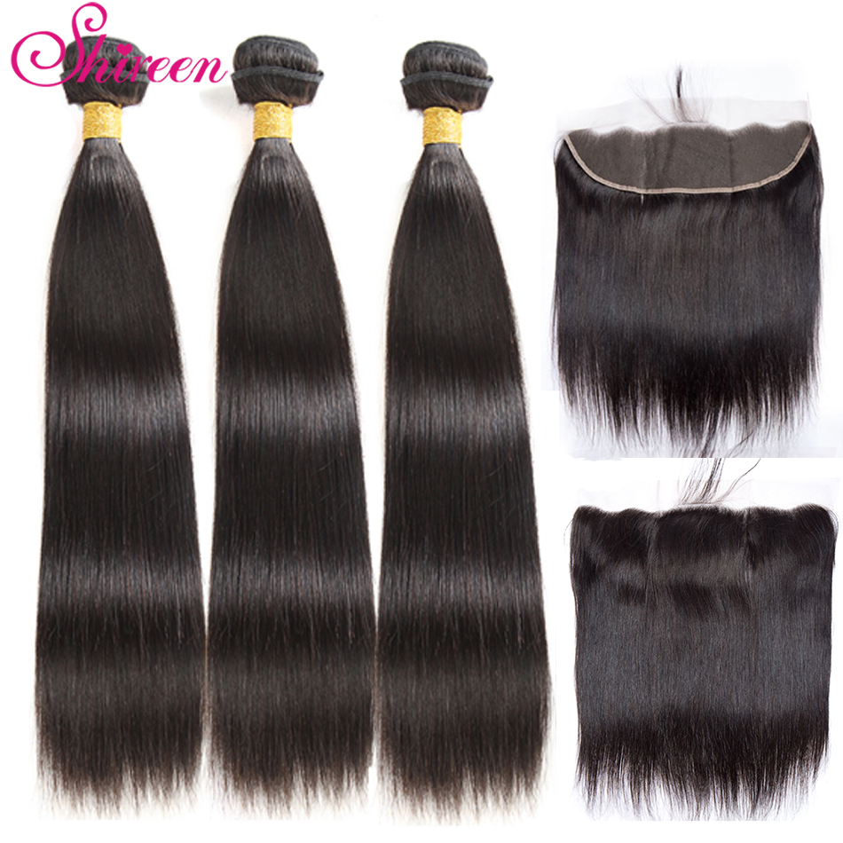 Shireen Hair Brazilian Straight Hair Bundles With Lace Frontal 13x4 Remy Human Hair Weave Bundles With Closure 8-28 Inch 4pc