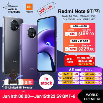 WORLD PREMIERE Xiaomi Redmi Note 9T 5G 4GB 64GB Global Version NFC smartphone Dimensity 800U 5000mAh 48MP Camera in Stock