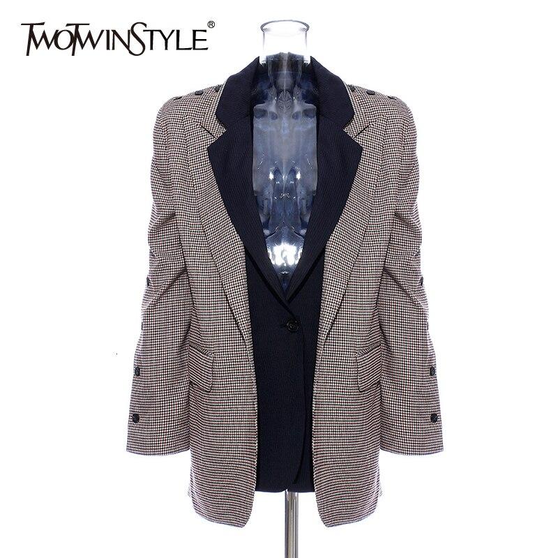 TWOTWINSTYLE Elegant Patchwork Plaid Women's Blazer Long Sleeve Notched Hit Color Pocket Female Suit 2019 Autumn Fashion New
