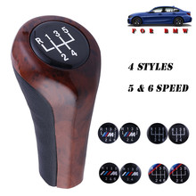 Leather Walnut Car Gear Shift Knob 5/6 Speed Shifter Ball Lever Stick ForE46 Etc