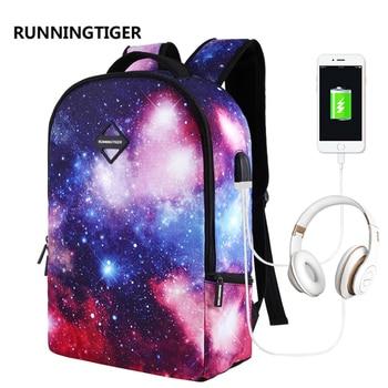 RUNNINGTIGER New USB Headset Charging Men Backpack 16 inch Anti Theft Laptop Backpacks For Teenagers Printing Women Mochila 2018