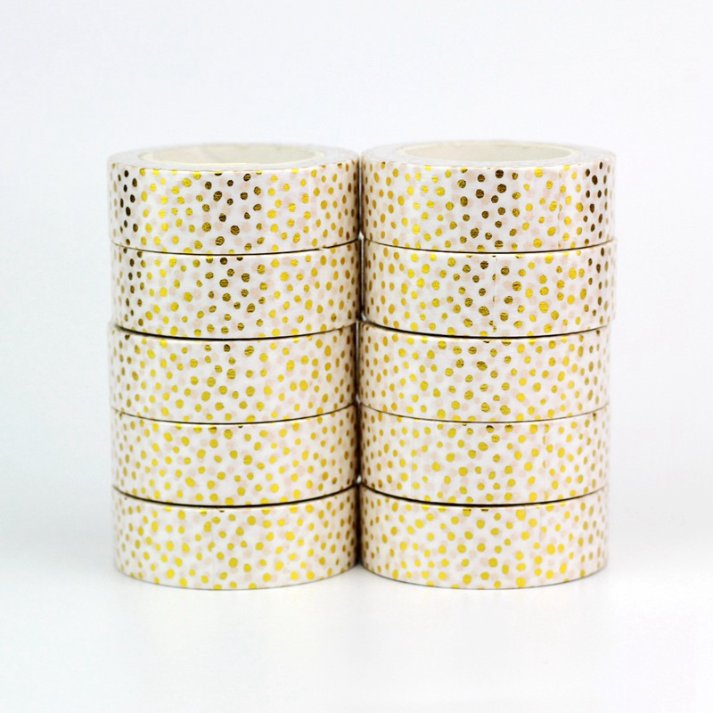 10PCS/lot Decorative Gold Dots On White Foil Washi Tapes Paper For Scrapbook Bullet Journal Adhesive Masking Tapes School Supply
