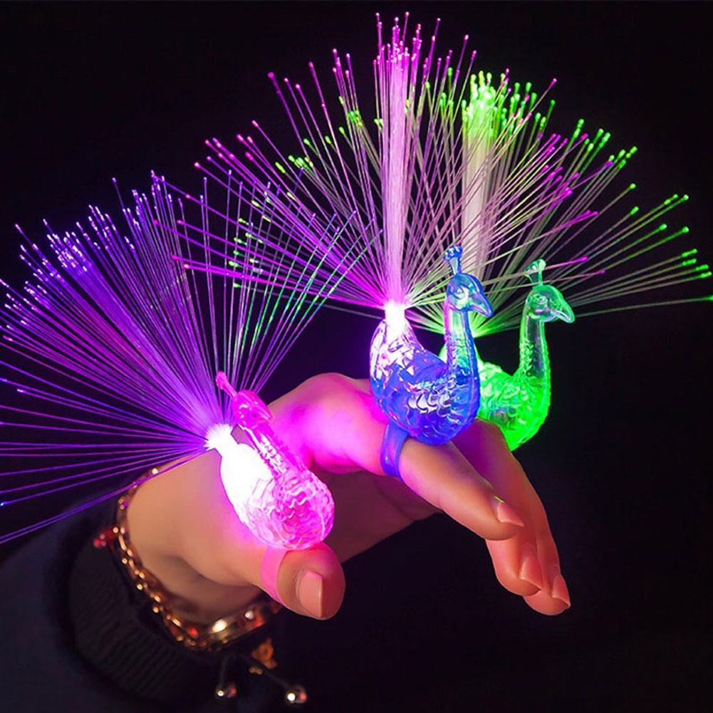 3PCS LED Glow Peacock Finger Light Luminous Ring Lamp Toy Flash Kid Fluorescent Shiny Neon Flashing Party Gift Decoration