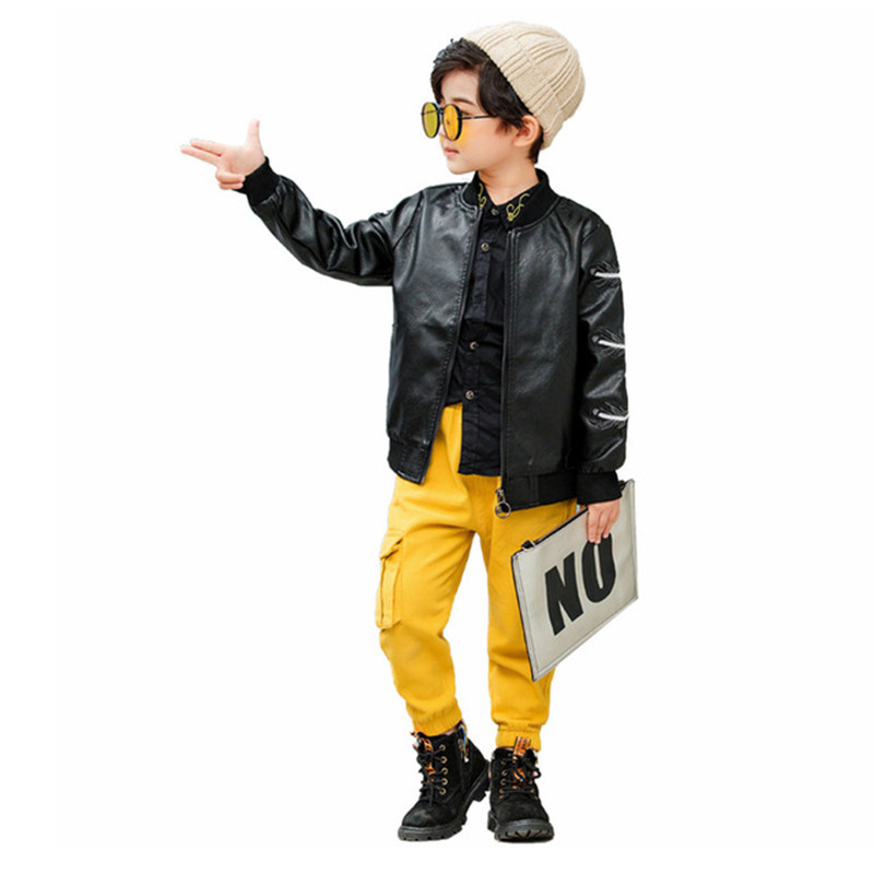 2019 Autumn Toddler Boys Leather Clothing Fashion <font><b>Feather</b></font> Embroidered PU Leather <font><b>Jacket</b></font> For Boys <font><b>Kids</b></font> Clothes Coat 2 3 4 5 6 Y image