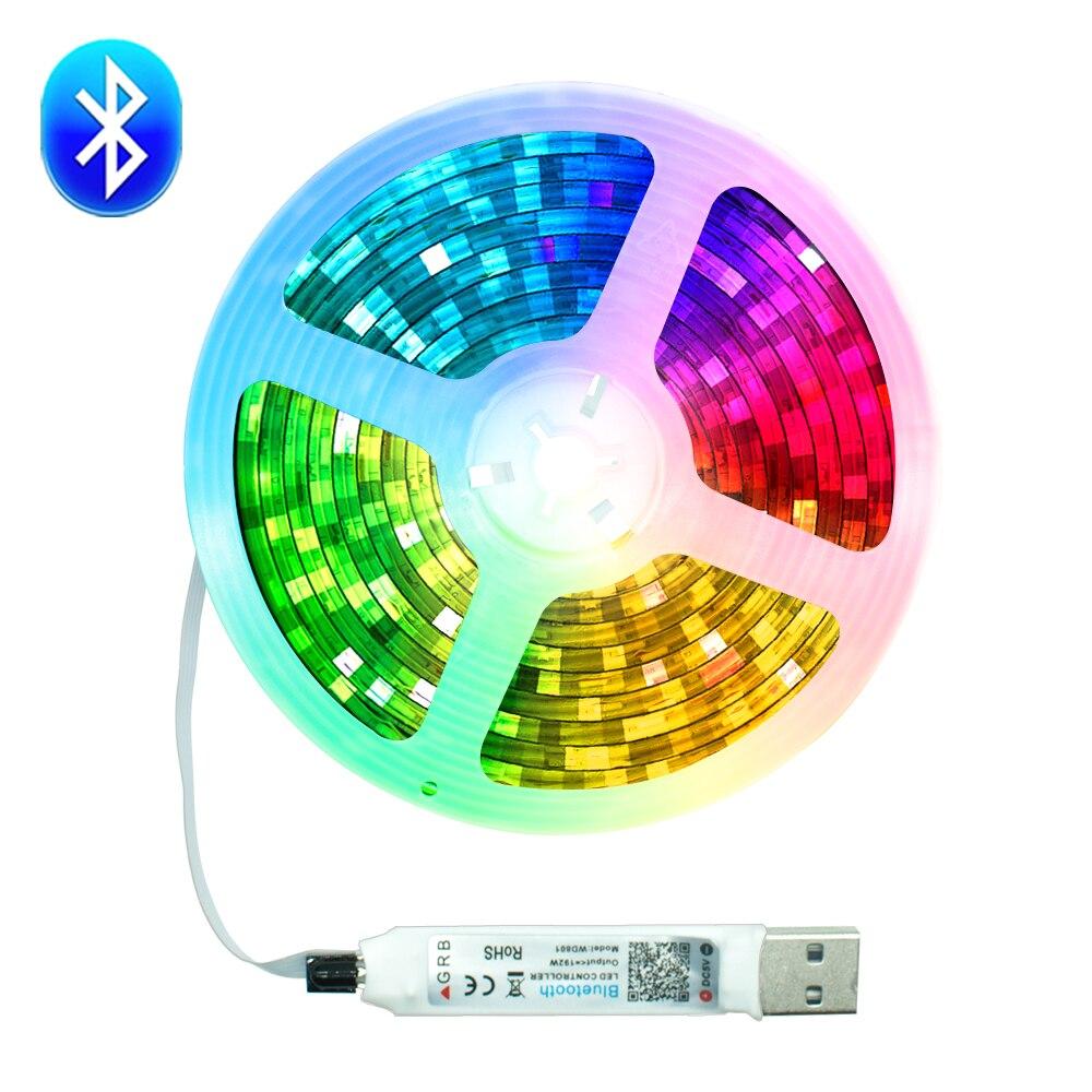 Tiras de led luz usb bluetooth 5050 smd 0.5m 1m 2m 3m 4m 5m dc5v à prova dwaterproof água diodo flexível tv desktop tela iluminação de fundo