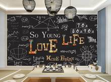 Hand drawn chalk words wall papers home decor for bedroom Living room hotel classroom wallpaper custom 3d(China)