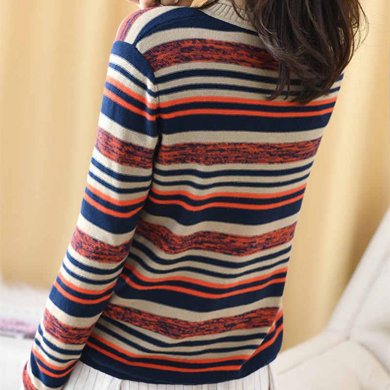 Smpevrg 2019 새로운 100% 코 튼 한국 여성 긴 소매 가을 느슨한 스트라이프 패션 얇은 섹션 니트 탑 셔츠 안에