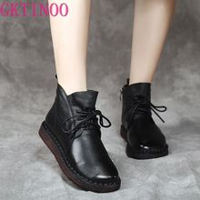 GKTINOO Fashion Autum Winter Flat Boots Genuine Leather Ankle Shoes Vintage Casual Shoes Lace up Retro Handmade Women Boot