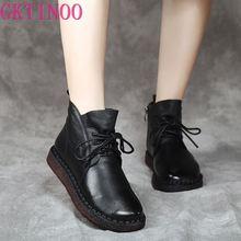 GKTINOO/модные осенне зимние ботинки на плоской подошве, ботильоны из натуральной кожи, винтажные повседневные ботинки на шнуровке, женские ботинки ручной работы в стиле ретро