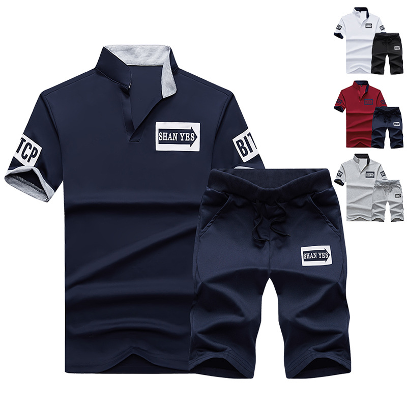 Summer Men's Korean-style Slim Fit Large Size Short Sleeve T-shirt Sports Set Fashion And Personality Fold-down Collar MEN'S Cas