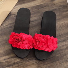 2019 new Women Summer Flip Flops height-heel Shoes Ladies Slipper Indoor Outdoor Flip-flops Beach Shoes petaloid Design sandal lucyever women shoes flip flops 2018 new summer rhinestones high heel slip on women slipper black blue flip flops size 35 41