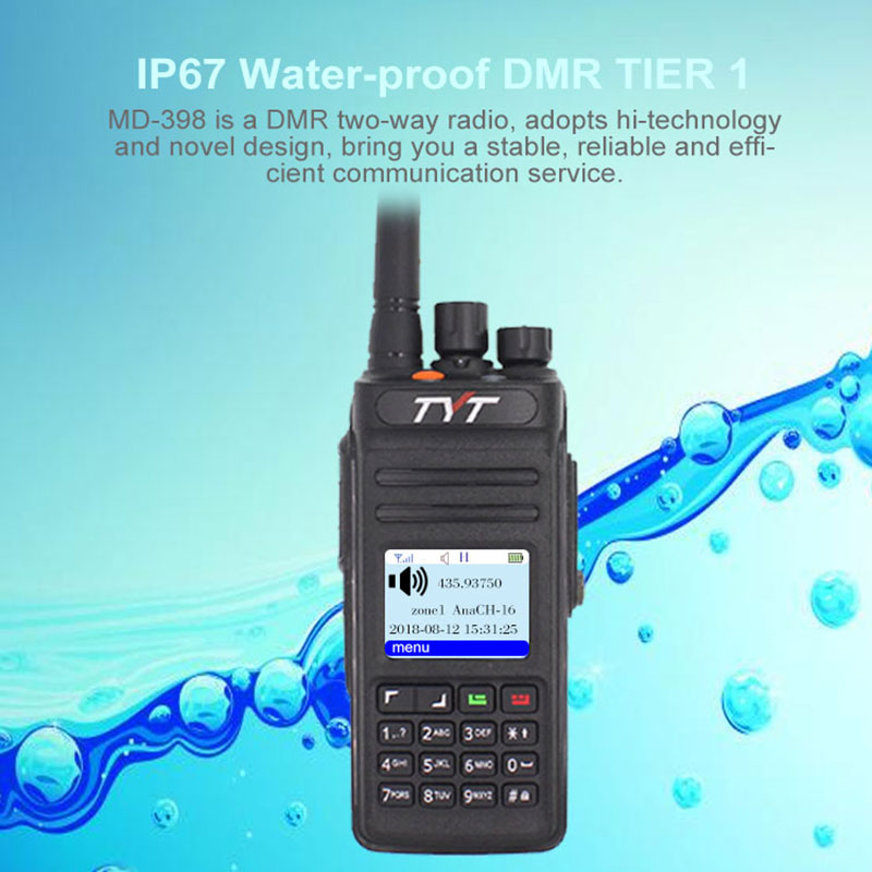 TYT MD398 Walkie Talkie IP67 Two Way Radio 10W UHF 400-470m HzHam Transceiver TYT MD-398 IP67 Waterproof DMR Digital Radio