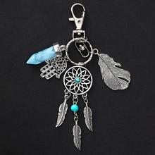 Dream Catcher Leaf Tassel Keychain Natural Stone Car Key Chain Boho Jewelry Trinket Key Ring Bag Charm Women Keys Accessories недорого