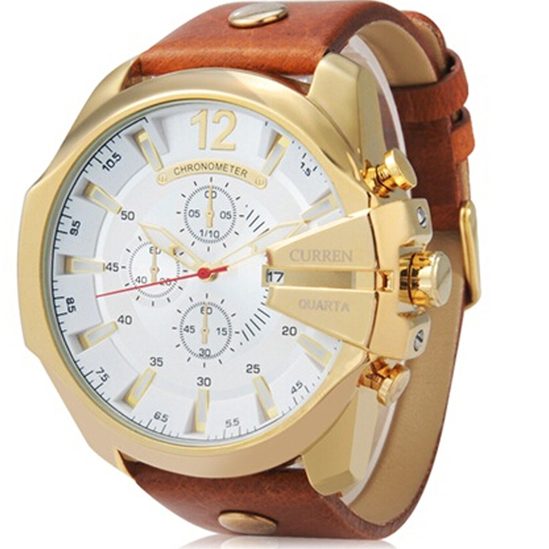 Dropshipping Top Luxury Brand Curren Mens Watches Classic Big Case Quartz Watch For Men Waterproof Male Clock Relogio Masculino