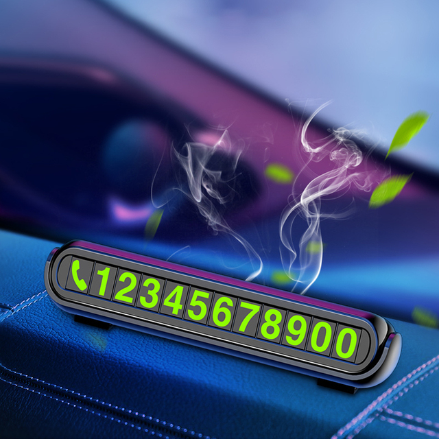 2020 New Luminous Car Temporary Parking Card Sticker Car Air Freshener Auto Phone Number Card Plate Car Aromatherapy Accessories 4