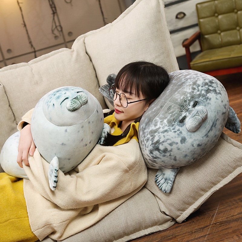 60cm huge seal pillow toys 3d novelty throw pillows soft seal plush stuffed sleep warm party hold pillow gift for children