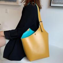 Solid Color Bucket Bags For Women 2019 Luxury Quality Handbags Lady Fashion Shou