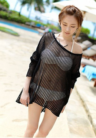 2018 Korean-style Sexy Mesh Transparent Holiday Shirt Loose And Plus-sized Knitted Hollow Out Beach Skirt Bikini Outer Blouse