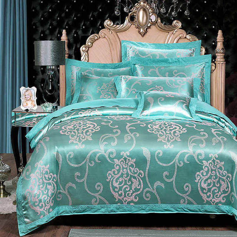 2.2*2.4M Comforter Bedding Sets Tencel Silk Luxury Duvet Cover Bed Sheet Hot Sale Queen King Double Blue Jacquard Bed Linens Set