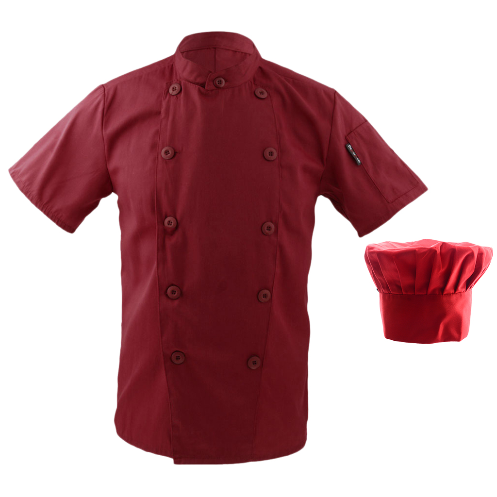 Men Women Double Breasted Sleeve Restaurant Cook Clothes Uniform+ Chef Hat