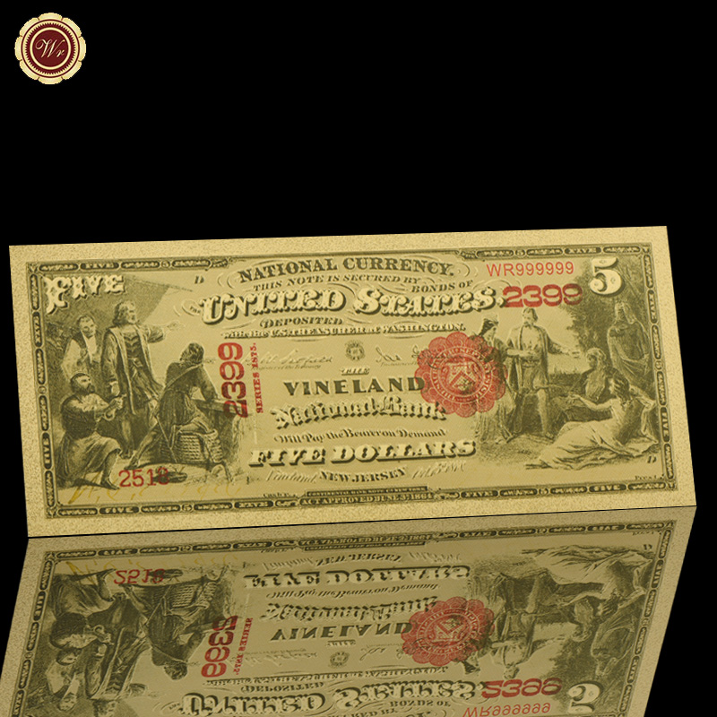 WR 1875 год США 5 доллар Позолоченные банкноты Америка Поддельные Банкноты USD банкноты без валюты уникальные подарки