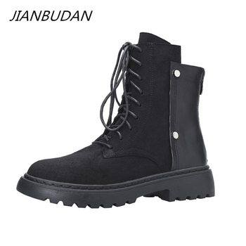 JIANBUDAN Womens Ankle Boots 2021 New Spring Autumn Casual Short boots Suede leather Plush Warm Winter Women Chelsea