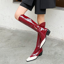 Dress Heels-Shoes Boots-Side Square Zipper Knee-High Winter Fashion Women Woman Size-34-40