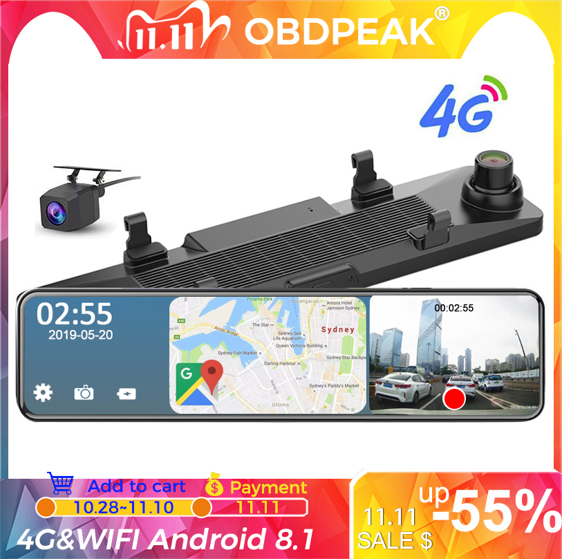 12 Inch Android 8 1 4G Car Rearview Mirror Stream Media GPS Navi Dash Cam Dual 1080P Camera Car Dvr ADAS Super Night RAM 2G 32G