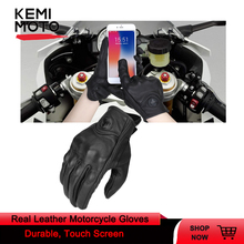 Real Leather Motorcycle Gloves Touch Screen Cycling Guantes Motorbike Protective Gears Motocross Glove Outdoor Racing Sport