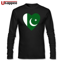 Pakistan Flag Heart Men O-neck Print Long Sleeve Custom Large Size Base T Shirts Cool T-shirts Men's best Gift