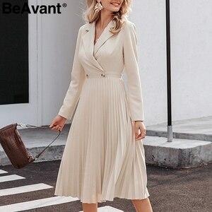 Image 3 - Женское длинное платье с отложным воротником BeAvant, элегантное однотонное Плиссированное офисное платье с длинным рукавом, шикарные вечерние платья на осень