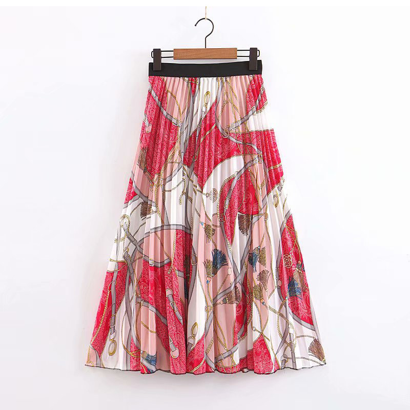 Woman Chiffon Long Pleated Skirt 2019 European Style Elastic High Waist Chain Print Maxi A Line Skirt Bohemian Boho Skirt Faldas