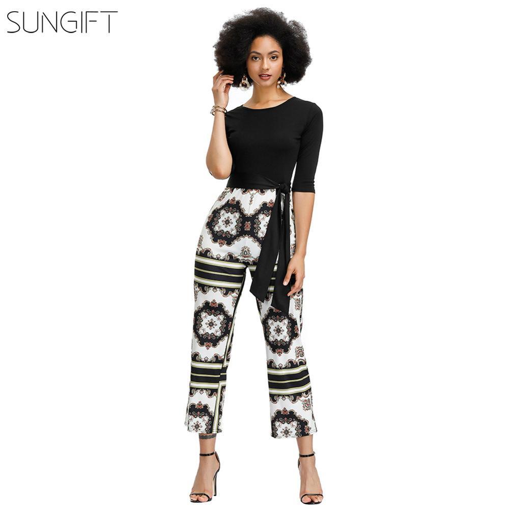 SUNGIFT Dashiki African Women Dress Round Neck Seven-quarter Sleeve 2019 Summer Fashion Women's Jumpsuit African Casual Dresses