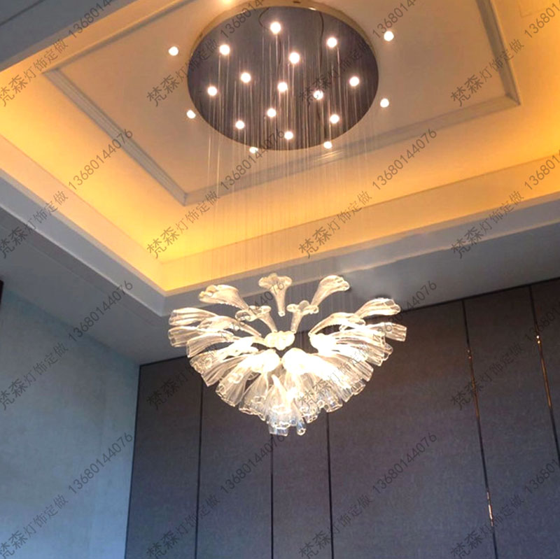 Hotel Lobby Lamp Feather Chandelier Hotel Lobby Glass Crystal Lamp Hotel Sales Department Sand Table Engineering Lights Custom