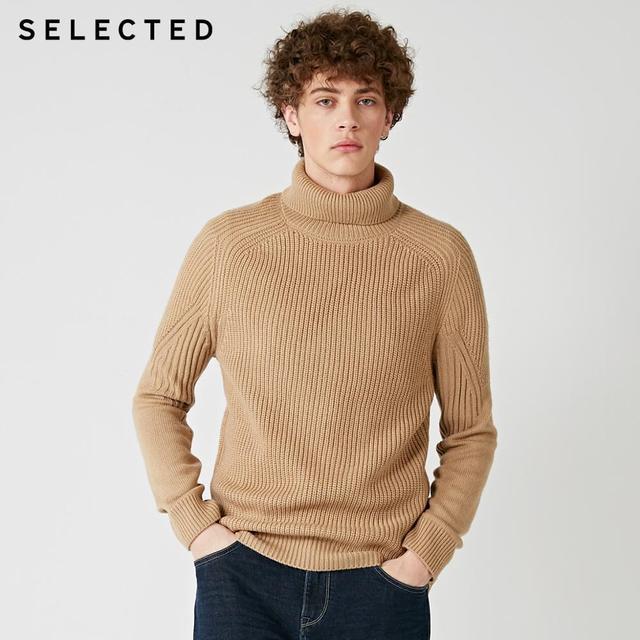 Мужской вязаный пуловер с высоким воротом, несколько цветов, свитер из смешанной шерсти, модель 418425533, 2019