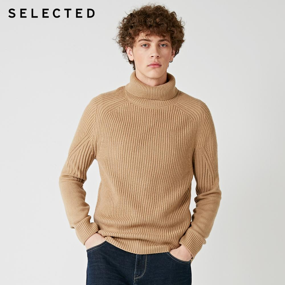 SELECTED High Neck Multiple Colors Knitted Pullovers Men's Wool blend Sweater  418425533-in Pullovers from Men's Clothing