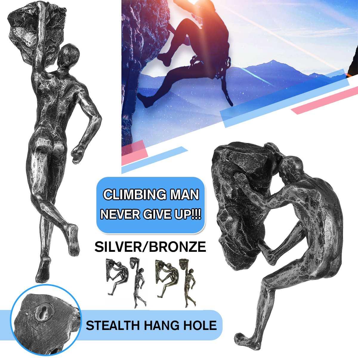 NEW Bronze/Silver Retro Rock Climbing Sportsman Figures Resin Sculpture Bar Restaurant Store Pendant Living Room Wall Decoration
