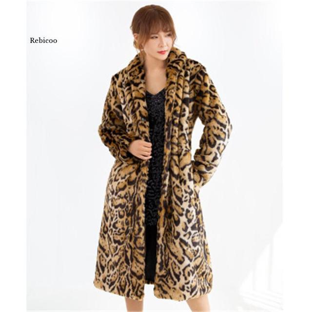 Femmes fausse fourrure manteau classique léopard moyen Long manteau mode dames grande taille S-6XL 2019 automne vêtements dhiver chauds hauts