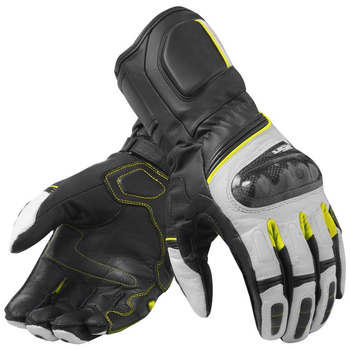 RSR 3 Motorcycle Motocross Street Style Racing Genuine Leather Gloves White Yellow Neon