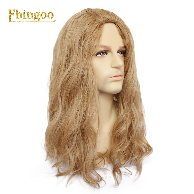 Ebingoo Free Hair Cap+Brown Long Water Wave Synthetic Cosplay Wig Men Male High Temperature Hair Perucas