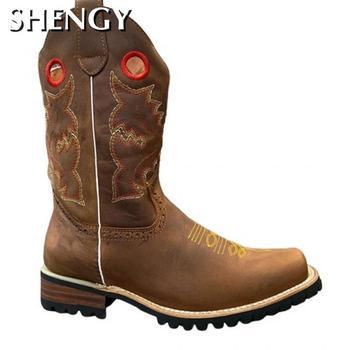 Modne buty męskie buty zachodnie kowbojskie buty outdoorowe męskie buty kolana wysokie buty jeździeckie buty Vintage buty jeździeckie Zapatos tanie i dobre opinie shengmiao Zachodnia CN (pochodzenie) Połowy łydki Paisley Peep toe RUBBER Zima Niska (1 cm-3 cm) 102244 Slip-on Pasuje prawda na wymiar weź swój normalny rozmiar