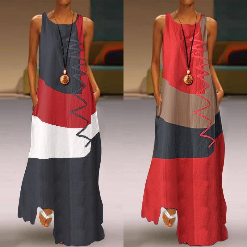 Women Patchwork Sundress ZANZEA 2020 Summer Maxi Dress Kaftan Casual Sleeveless Tunic Vestido Female 100% Cotton Robe Plus Size