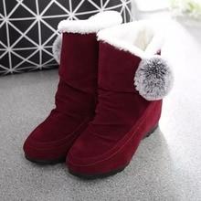 Winter Snow Boots Women Platform Ankle Cute Faux Fur Ball Decoration Warm Booties Ladies Increasing Cotton Shoes AEZLZ150