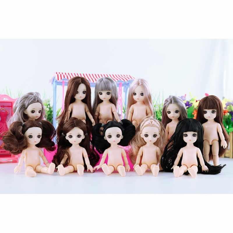 16 CM 3D עיני 13 מפרקי BJD 1/12 בובות ילדה צעצועי חמודה Reborn נסיכת מתנות עבור בנות ילדים ילדי דמות דצמבר