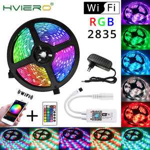 WIFI Controller RGB LED Strip Light SMD 2835 5M Waterproof RGB Tape DC12V Ribbon Diode Led Strip Light Home DIY Decoration Lamp