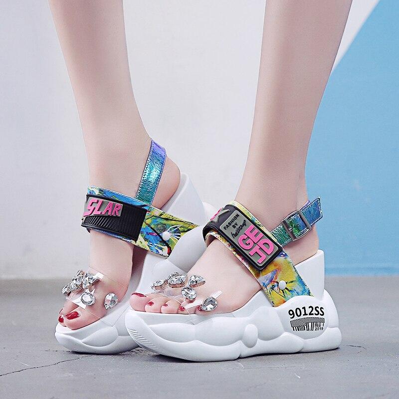 Lucyever 2019 Summer Women Sandals Fashion Transparent Diamond Wedge Sandal Rhinestone High Heels Chunky Platform Shoes Woman